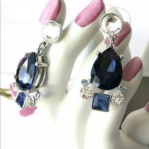 Jewelry - BLUE SAPPHIRE RHINESTONE EARRINGS, DANGLES PAGEANT